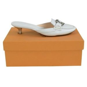 Tod's White Klimt Slip On Sandals Sabot Heels